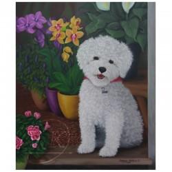 Petit chien fleuriste